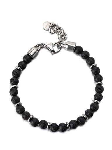 Volcanic rock Titanium Steel Obsidian Geometric Vintage Beaded Bracelet