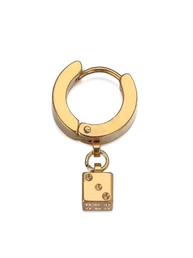 Gold (single) Titanium Steel Rhinestone Geometric Minimalist Huggie Earring( (Single)