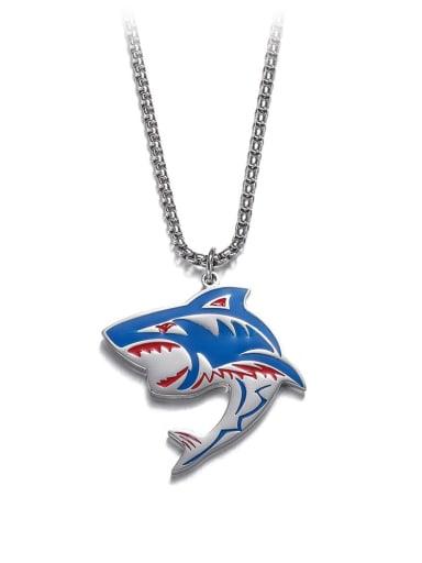 Steel Titanium Steel   Hip Hop Shark Element Necklace