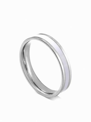 Steel white glue Titanium Steel Enamel Round Minimalist Band Ring