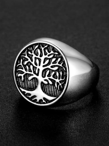 Titanium Steel Tree Vintage Band Ring For Men