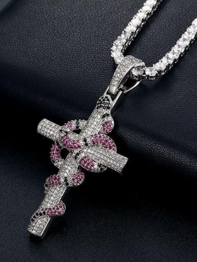 Platinum +Chain:4mm*61cm Brass Cubic Zirconia Cross Vintage Regligious Necklace