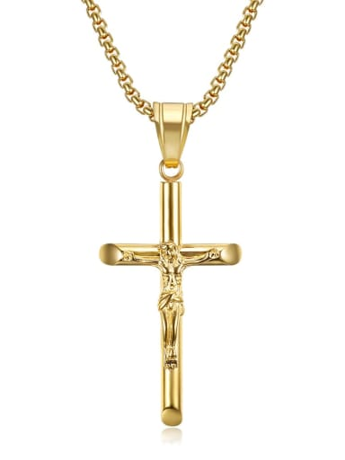 Gold Necklace Titanium Rhinestone Cross Hip Hop Necklace