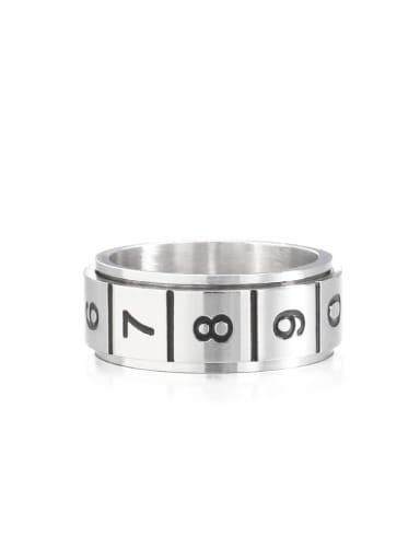 Steel color (size 6) Titanium Steel Number Vintage Band Ring