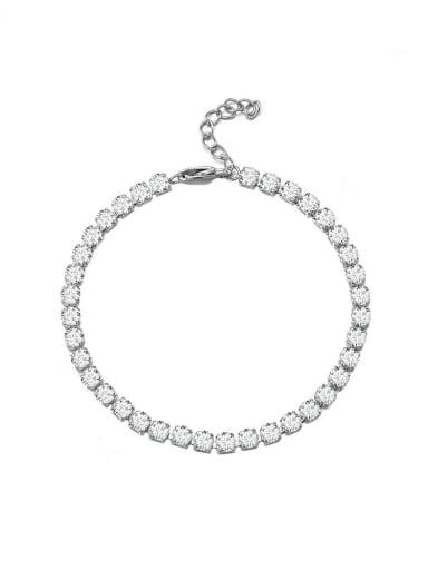 Titanium Steel Cubic Zirconia Geometric Minimalist Link Bracelet