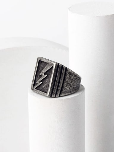 Titanium Steel Geometric Hip Hop Band Ring