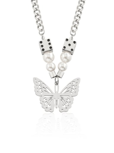 Titanium Steel Imitation Pearl Butterfly Hip Hop Necklace