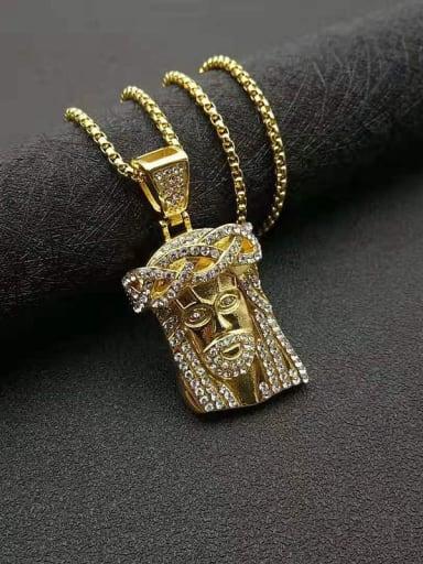 Gold Chain+3mm 61cm Titanium Steel Rhinestone Irregular Vintage Necklace