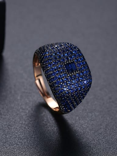 T21F06 Blue Brass Cubic Zirconia Geometric Hip Hop Band Ring