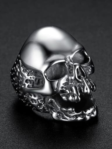 Steel color Stainless steel Skull Vintage Band Ring