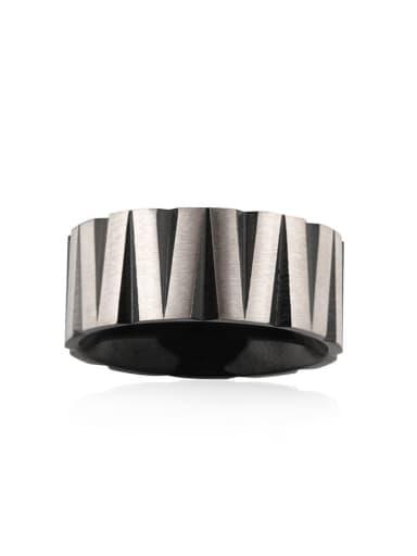 Between black Titanium Steel Round Hip Hop Band Ring