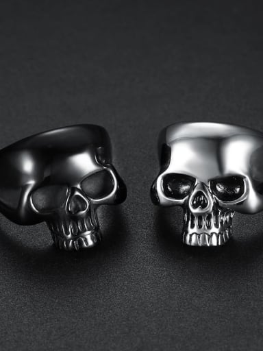 Titanium Skull Statement  Ring