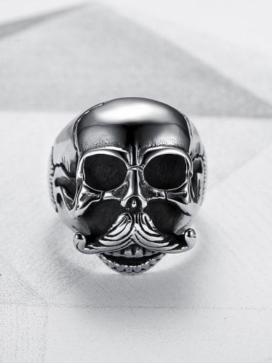 Titanium Skull Vintage Band Ring
