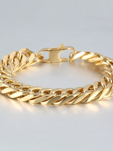 Gold (1.2cm wide) Titanium+smooth Minimalist Chain