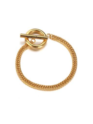 Gold (about 190mm girth) Titanium Steel Irregular Hip Hop Bracelet