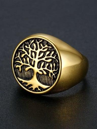 Golden Titanium Steel Tree Vintage Band Ring For Men