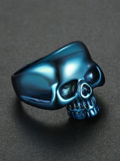 blue Titanium Skull Statement  Ring