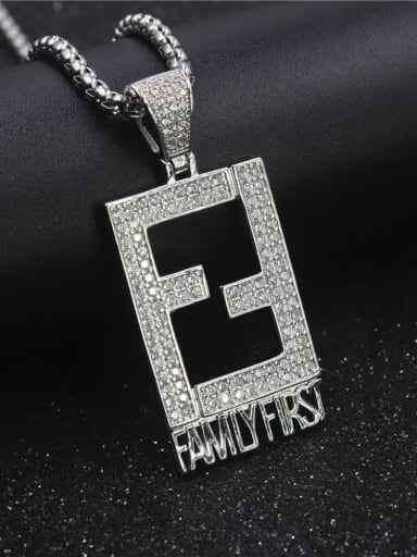 Silver with chain Copper Cubic Zirconia Rectangle Hip Hop Initials Pendant Necklace