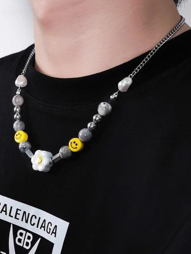 Titanium Steel  Geometric Hip Hop Sun Flower Smiley Necklace