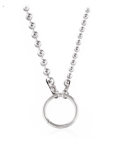 Titanium Steel Hollow Geometric Hip Hop Bead Chain Necklace