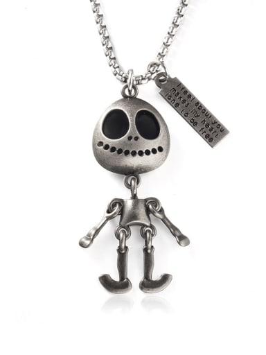 Titanium Steel Skull Hip Hop Long Strand Necklace