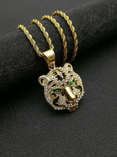 Gold necklace Titanium Rhinestone Vintage Tiger Pendant necklace