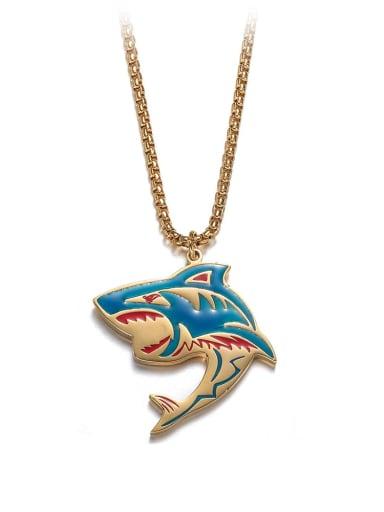gold Titanium Steel   Hip Hop Shark Element Necklace