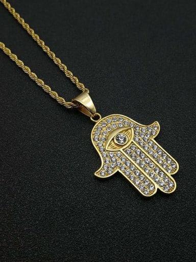 Titanium Steel Cubic Zirconia Hand Of Gold Ethnic Necklace