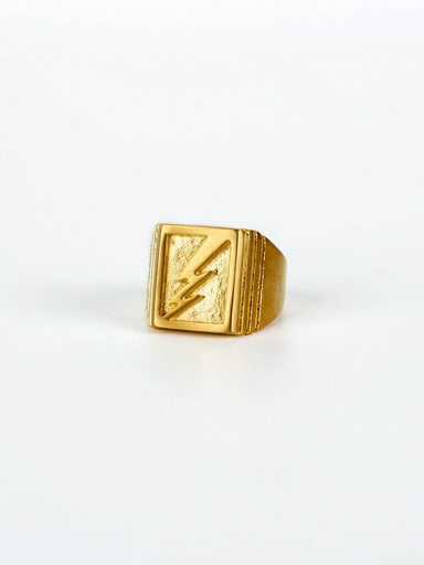 Gold (size 6) Titanium Steel Geometric Hip Hop Band Ring