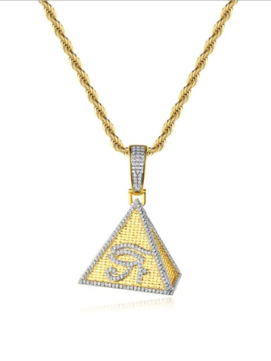 Brass Cubic Zirconia Triangle Hip Hop Necklace