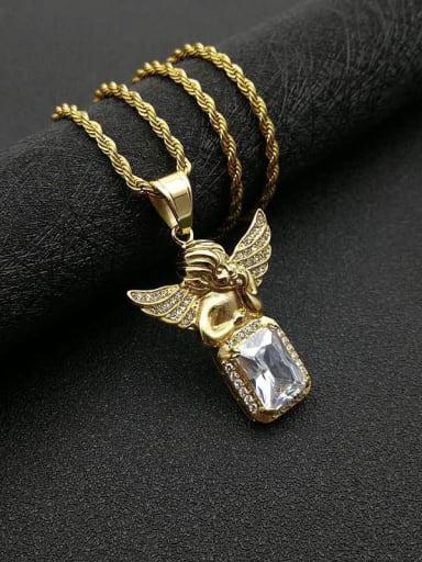 Gold Chain:3mm*61cm Titanium Steel Glass Stone Angel Vintage Necklace