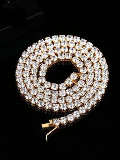 Brass Cubic Zirconia Geometric Hip Hop Necklace