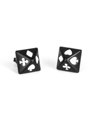 Black (pair) Titanium Steel Enamel Geometric Vintage Stud Earring