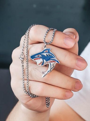 Titanium Steel   Hip Hop Shark Element Necklace