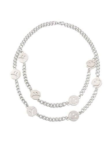 Titanium Steel Smiley Hip Hop Multi Strand Necklace