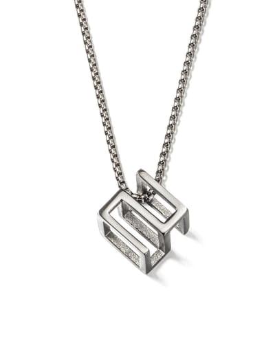 Steel (520) Titanium Steel Square Minimalist Long Strand Necklace