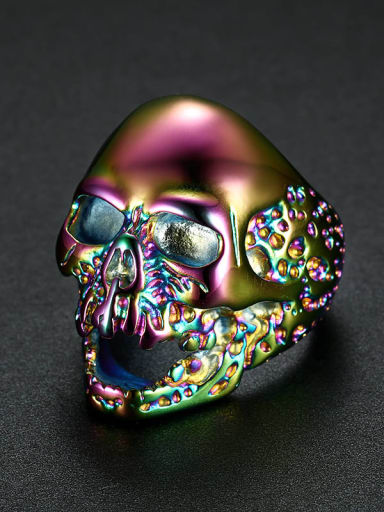 Seven colors Stainless steel Skull Vintage Band Ring