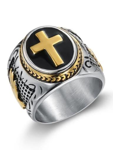 Medium gold Titanium Hand Of Gold Hip Hop Band Ring For Men