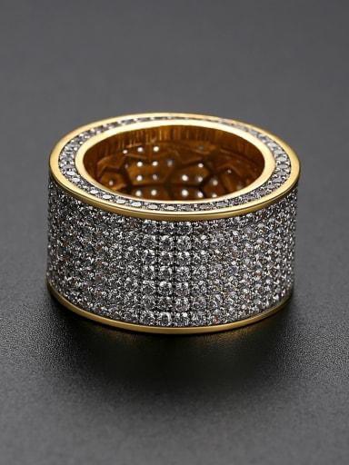 Brass Cubic Zirconia Round Luxury Band Ring