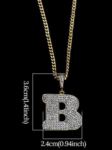 B 24in 60cmT20B02 Brass Cubic Zirconia Letter Hip Hop Initials Necklace
