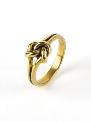 Gold (size 6) Titanium Steel Bowknot Vintage Band Ring