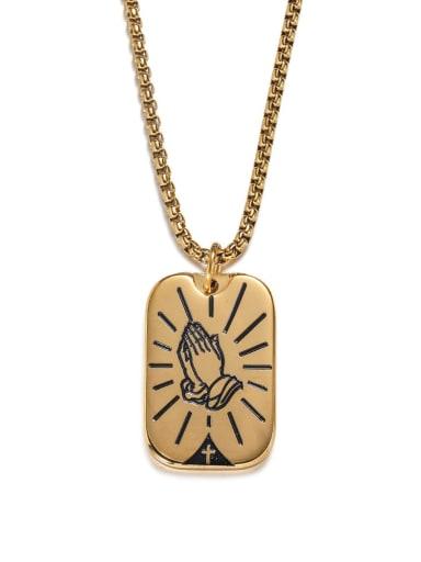 golden Titanium Steel Geometric Hip Hop Long Strand Necklace