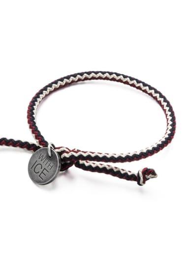 Crimson Navy white rope Titanium Steel Bowknot Hip Hop Woven Bracelet