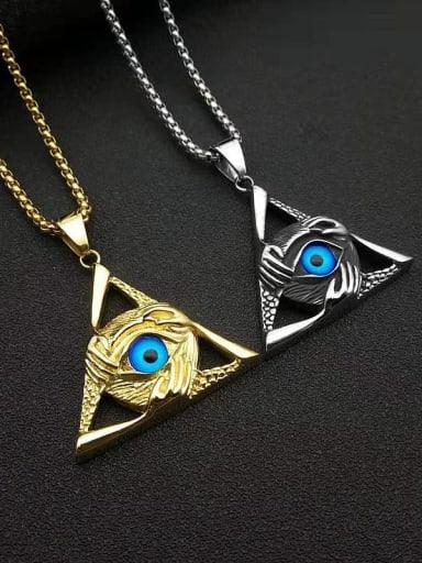 Titanium Steel Enamel Triangle Vintage Necklace