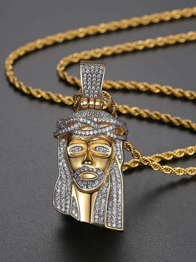 Copper Face Cubic Zirconia Irregular Hip Hop Necklace