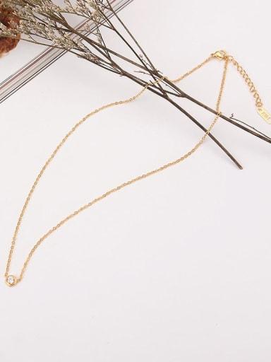 Titanium Cubic Zirconia Round Minimalist necklace