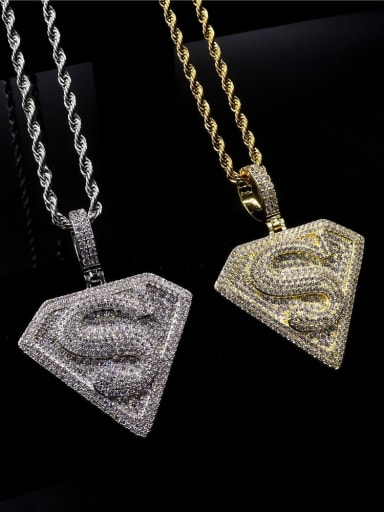 Copper Cubic Zirconia Irregular Hip Hop Initials  Pendant Necklace