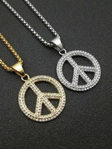 Titanium Rhinestone Round Hip Hop Initials  Pendant Necklace
