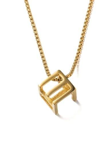 Gold (1314) Titanium Steel Square Minimalist Long Strand Necklace