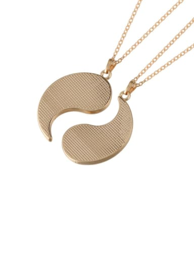 A Pair Of Golden Titanium Steel Round  Yin And Yang Gossip Necklace